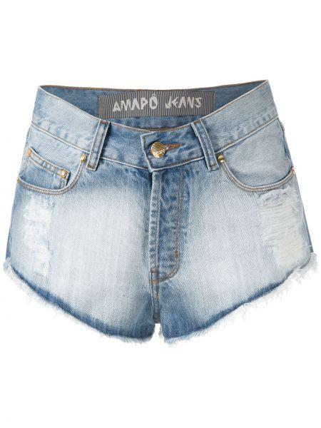 Синие хлопковые джинсовые шорты с карманами Amapô