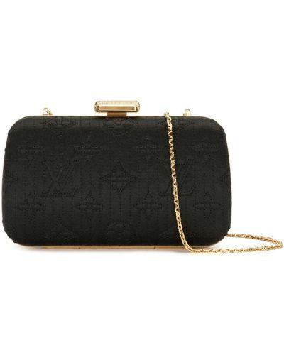 Золотистый с ремешком черный клатч на цепочке Louis Vuitton