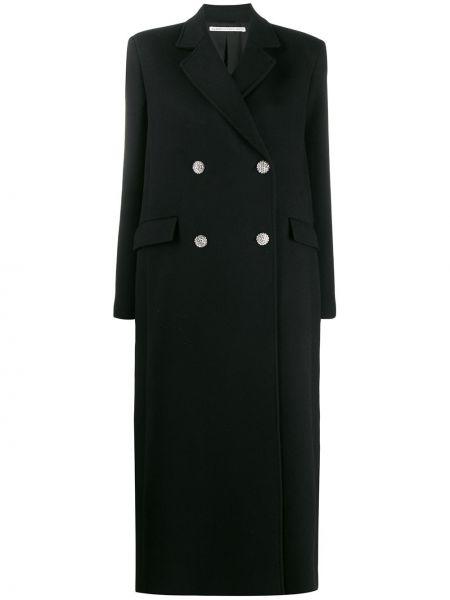 Czarny płaszcz wełniany z długimi rękawami Alessandra Rich