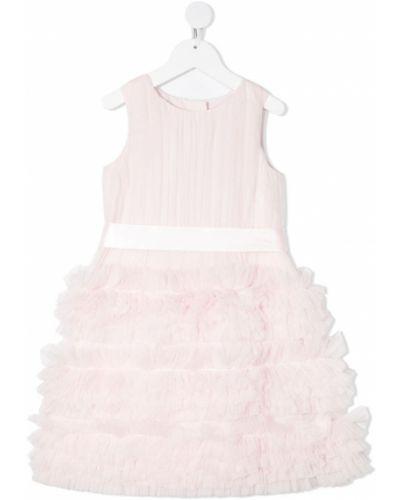 Różowa sukienka mini rozkloszowana bez rękawów Charabia