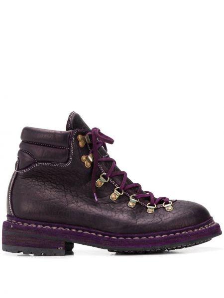 Кожаные сапоги на каблуке на шнуровке Guidi