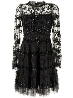 Черное платье макси с длинными рукавами Needle & Thread