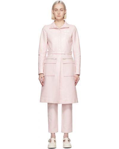 Różowy długi płaszcz z paskiem srebrny Courreges