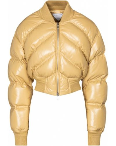 Желтая кожаная дутая куртка Bottega Veneta