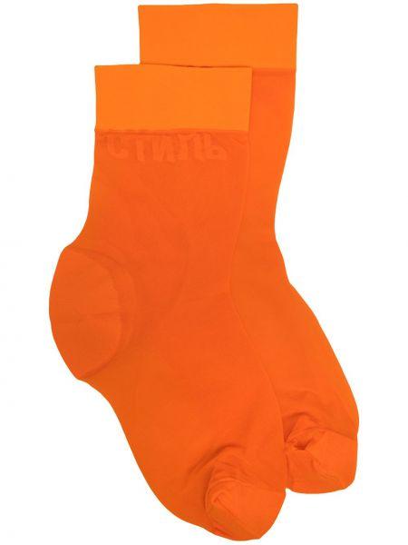 Оранжевые носки с вышивкой Heron Preston