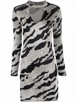 Платье макси с длинными рукавами - серебряное Just Cavalli