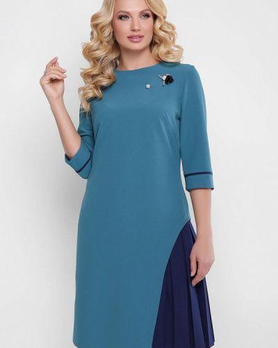 Коктейльное платье весеннее бирюзовый Vlavi