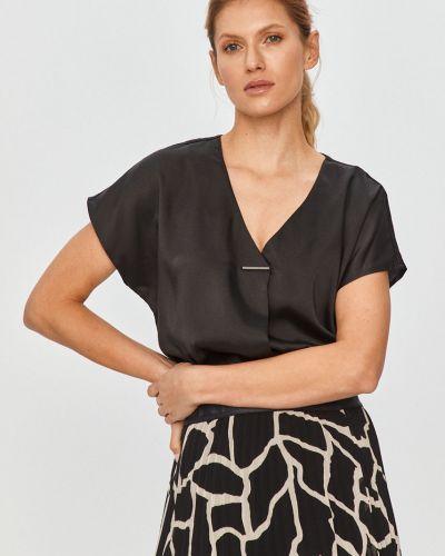 Czarna bluzka elegancka krótki rękaw Dkny