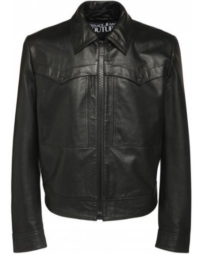 Czarna kurtka skórzana Versace Jeans Couture