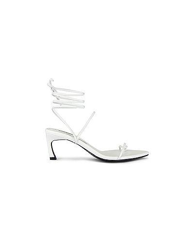Белые кожаные сандалии на каблуке квадратные Reike Nen