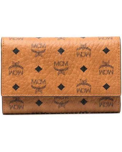 Brązowy portfel skórzany Mcm