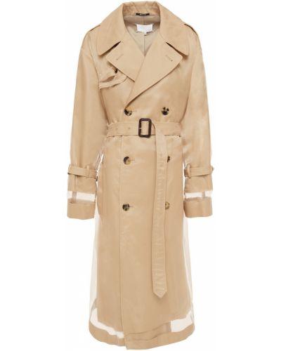 Бежевое кожаное пальто двубортное Maison Margiela