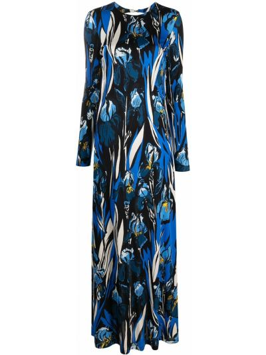 С рукавами синее платье макси в цветочный принт La Doublej