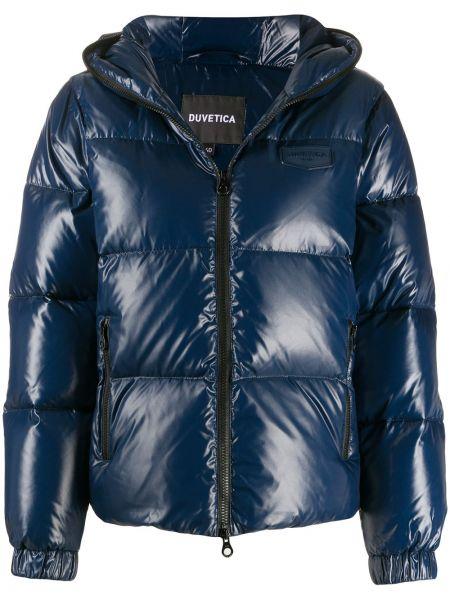 Пуховая синяя куртка с капюшоном Duvetica