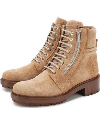 Ботинки на шнуровке байкерские кожаные Balmain