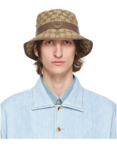 Brezentowy brązowy kapelusz prążkowany Gucci