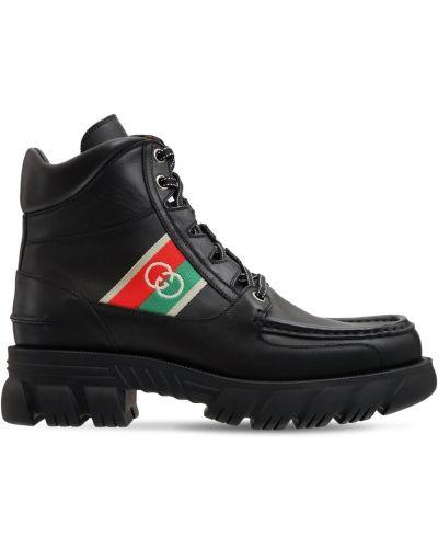 Черные кожаные ботинки Gucci