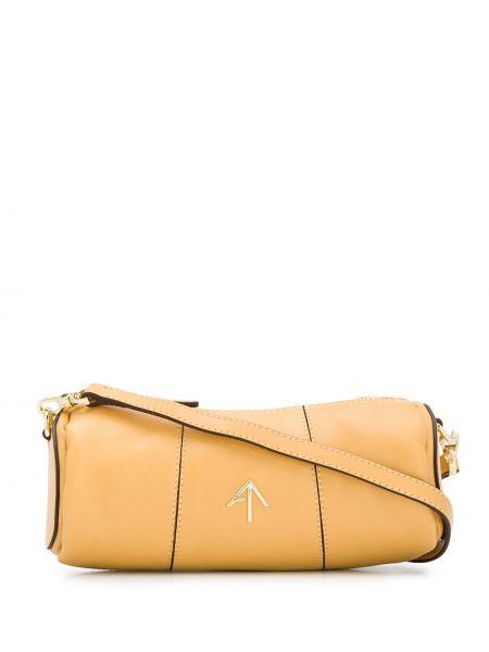 Золотистая желтая сумка на плечо металлическая на молнии Manu Atelier