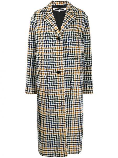 Однобортное шерстяное белое пальто классическое Mcq Alexander Mcqueen