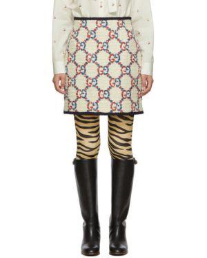 Юбка мини шелковая с узором гусиные лапки Gucci