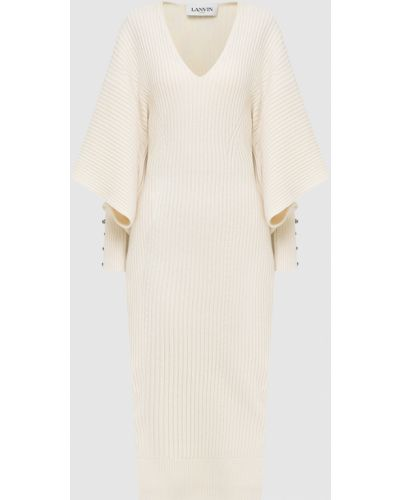 Шерстяное бежевое платье миди Lanvin