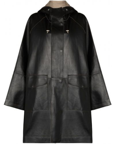 Czarny płaszcz przeciwdeszczowy z kapturem skórzany Stand Studio