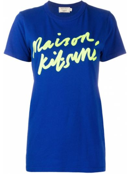 Хлопковая синяя футболка с круглым вырезом с короткими рукавами Maison Kitsuné