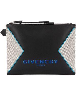 Кожаный черный клатч на молнии со вставками Givenchy