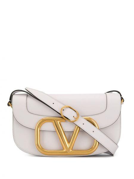 Золотистая белая кожаная сумка на плечо Valentino