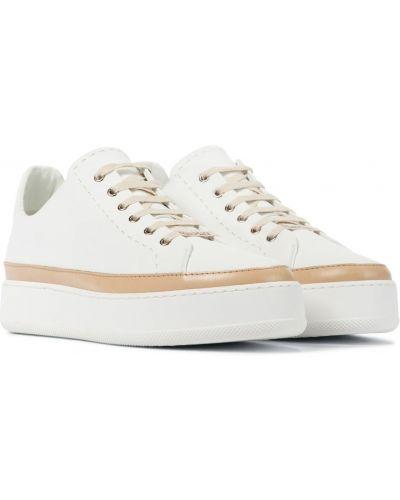 Повседневные кожаные белые кроссовки Max Mara