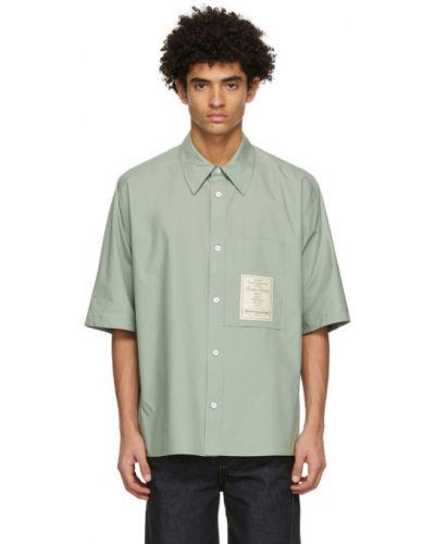 Зеленая рубашка с короткими рукавами с воротником Wooyoungmi