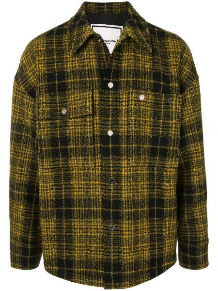С рукавами шерстяная желтая рубашка на пуговицах Wooyoungmi