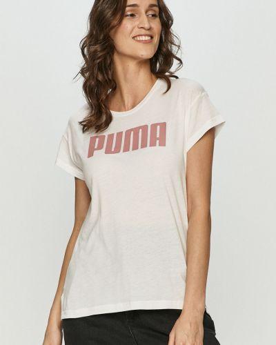 Biały top sportowy bawełniany z printem Puma