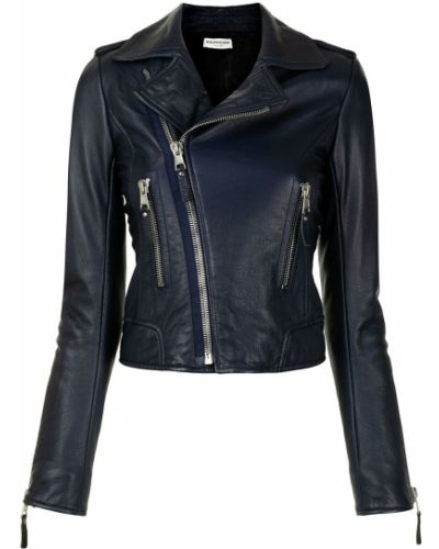 Синяя кожаная короткая куртка байкерская Balenciaga Pre-owned