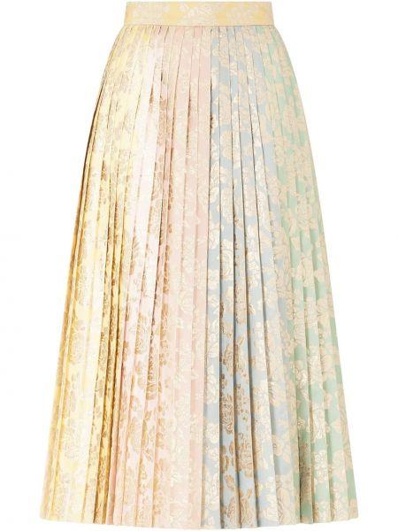 Шелковая с завышенной талией плиссированная юбка миди Dolce & Gabbana