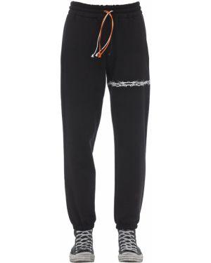 Prążkowane czarne joggery bawełniane Ihs