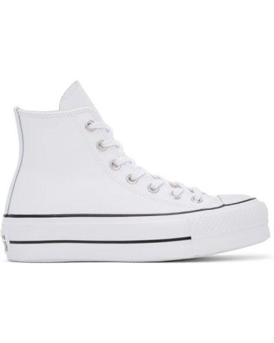 Кожаные белые высокие кроссовки на платформе Converse