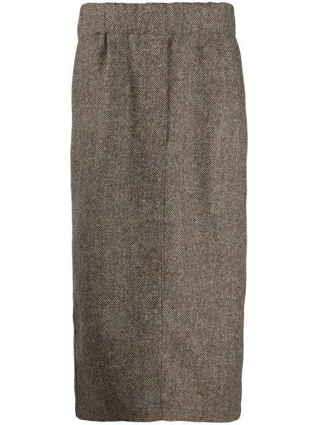 Шерстяная коричневая юбка миди с поясом со шлицей Jejia