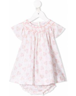 Розовое платье с рукавами на пуговицах с вырезом круглое Tartine Et Chocolat