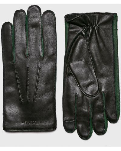 Skórzany rękawiczki wełniany czarny Calvin Klein