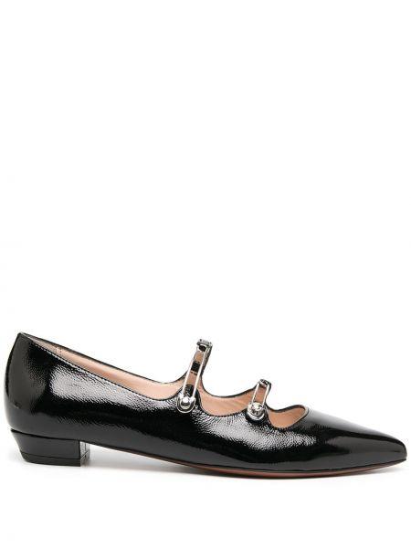 Кожаные лаковые черные балетки на каблуке Alexa Chung