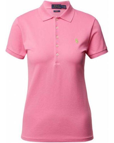 Prążkowany różowy t-shirt bawełniany Polo Ralph Lauren