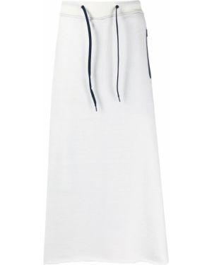 Prosto nylon beżowy spódnica midi z kieszeniami Fumito Ganryu
