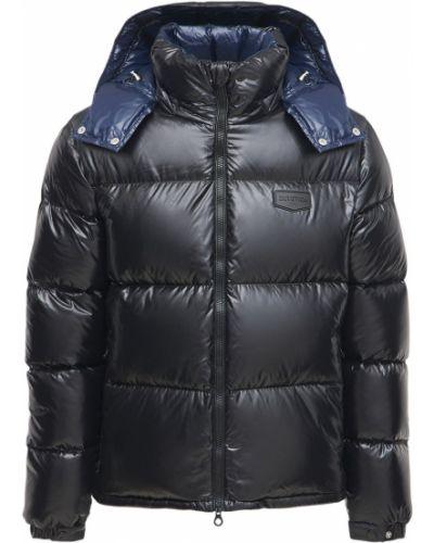 Czarna kurtka z kapturem z nylonu Duvetica