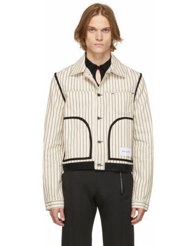 Białe jeansy w paski Daniel W. Fletcher