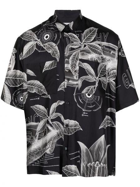 Jedwab z rękawami czarny klasyczna koszula z łatami Givenchy