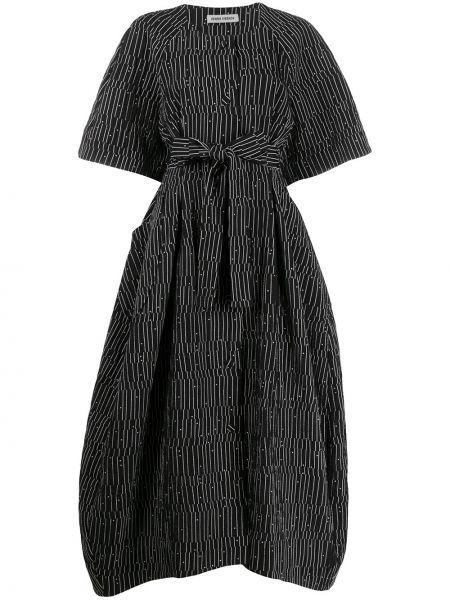 Платье с поясом в полоску на пуговицах Henrik Vibskov