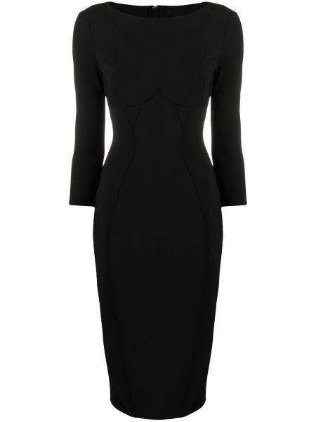 Черное прямое платье миди с вырезом на молнии Elisabetta Franchi