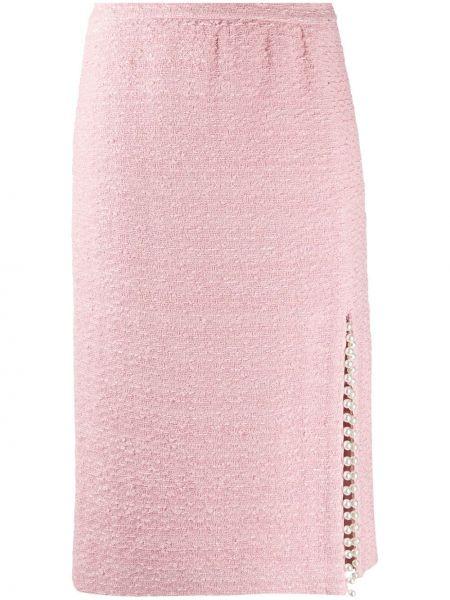 Шелковая розовая юбка карандаш с жемчугом Giambattista Valli