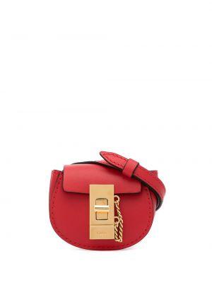 Золотистая красная кожаная поясная сумка Chloé